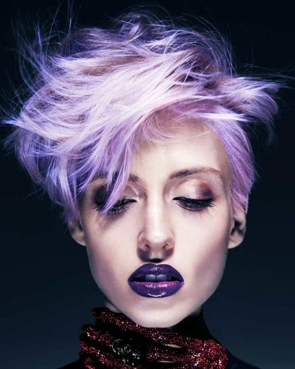 Mad Hatter by Sharon Dow | Check out the full collection at salonmagazine.ca #purple #shorthair