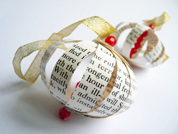 Tree decoration made from pages of Charles Dickens A Christmas Carol; a fitting tribute to the popular tale of Scrooge and a modern take on a Victorian
