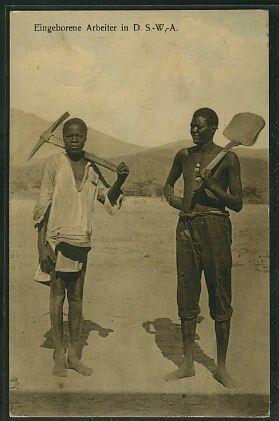 'Eingeborene Arbeiter' caption from postcard
