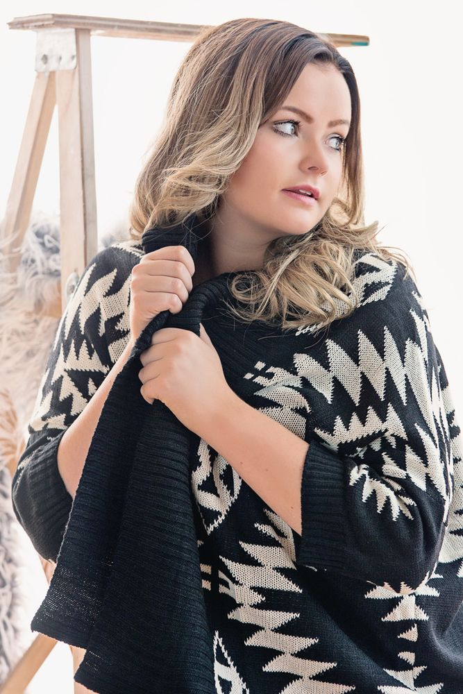 Image of Black and White Aztec Cardigan