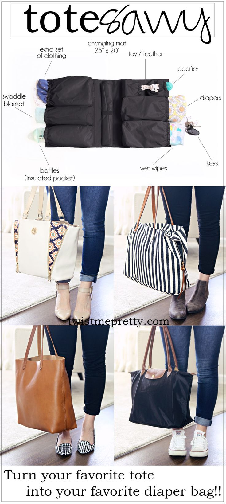 Turn your favorite tote into your favorite diaper bag with the tote savvy!
