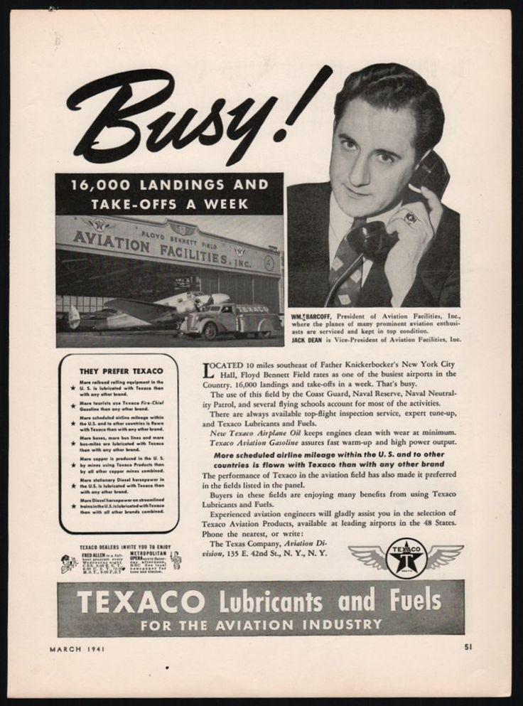 1941 FLOYD BENNETT FIELD Long Island NY Texaco Aviation Fuel Gasoline AD
