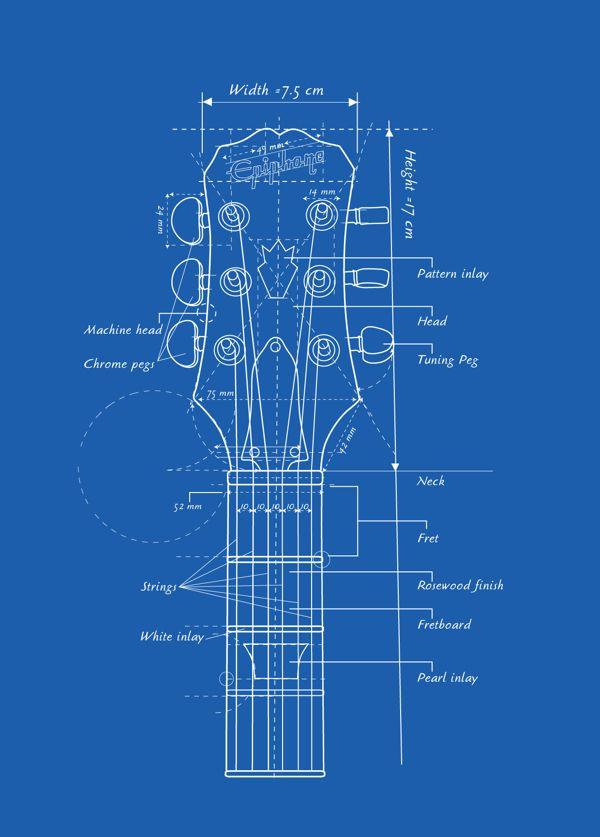 Guitar head blueprint blueprints pinterest galleries Print blueprints