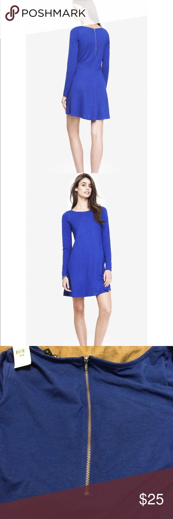 Express Long Sleeve Zip Back Trapeze Dress ✨✨ BRAND NEW ✨✨ Express Long Sleeve Zip Back Trapeze Dress ✨✨ ** in blue royal blue. Perfect for upcoming fall weather. 🍂🍂 make an offer 🍂🍂 Express Dresses Long Sleeve
