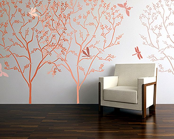 Large stencil for walls blossoming cherry tree wall for Large tree template for wall