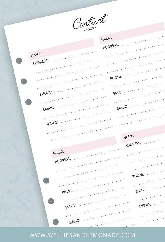 Ce magnifique et élégant A5 imprimé planificateur Inserts a été conçu pour vous aider à ranger vos contacts et de les garder bien organisé et facile à trouver. Il est possible d'écrire dans le nom, adresse, téléphone, email et un peu d'info. 10 % de réduction via ce lien: