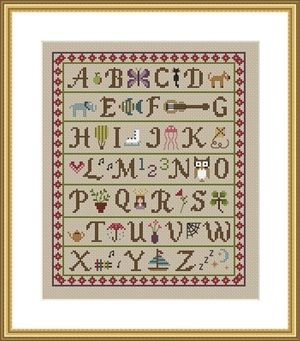 A is for Apple sampler cross stitch chart PDF download