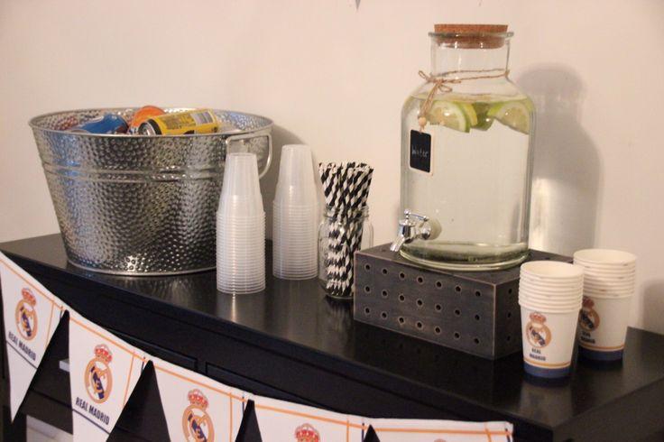 Soccer themed birthday party #RealMadridCF #DrinkDispenser