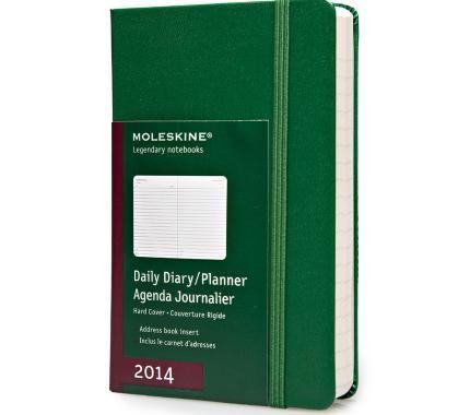 12 meses - Agenda diária - Capa dura em verde óxido - De bolso - Moleskine ®