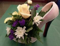 High heel flower centerpiece