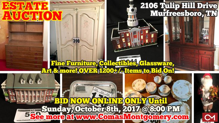 CLICK HERE TO PLACE BIDS: http://comasmontgomery.com/index.php?ap=1&pid=150195  ONLINE ESTATE AUCTION featuring Fine Furniture, Collectibles, Glassware, Art & more!  2106 Tulip Hill Drive, Murfreesboro, Tennessee The Johnson Estate  BID NOW ONLINE ONLY Until  Sunday, October 8th, 2017 @ 8:00 PM.  #estate #sale #auction #furniture #antiques #jewelry #collectibles #Christmas #villages #Dickens #Dept56 #BuyersChoice #Glassware #China #Linens #Hummel #Murfreesboro #Tennessee