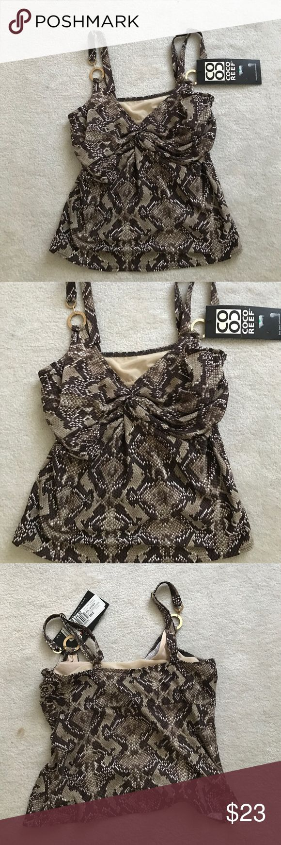 NWT Coco Reek Brown Beige Tankini 32D Very nice Tankini with underwire bra and adjustable straps. Coco Reef Swim One Pieces