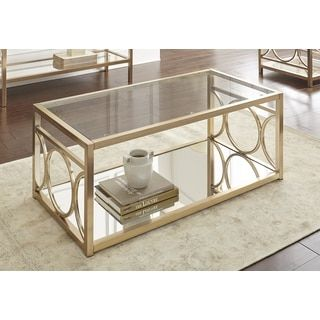 Quatrefoil Goldtone Metal and Glass Coffee Table - 16478580 - Overstock.com Shopping - Great Deals on I Love Living Coffee, Sofa & End Tables