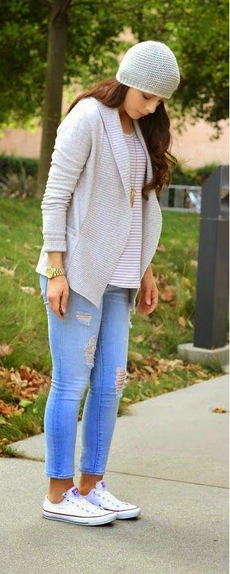 Grey Sweater , Ripped Skinny Denim , White Sneakers / Causal Street Fashion
