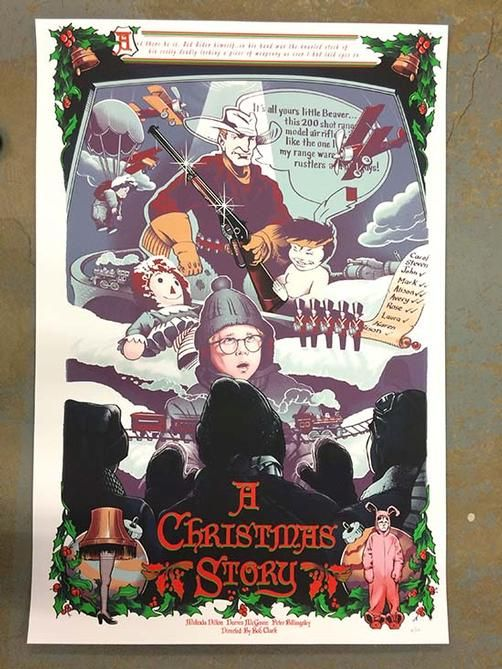 Original silkscreen movie poster for A Christmas Story starring Peter Billingsley, Melinda Dillon and Darren McGavin from 1983. 24 x 36 inches. Numbered 41/110. Art by Barrett Chapman.