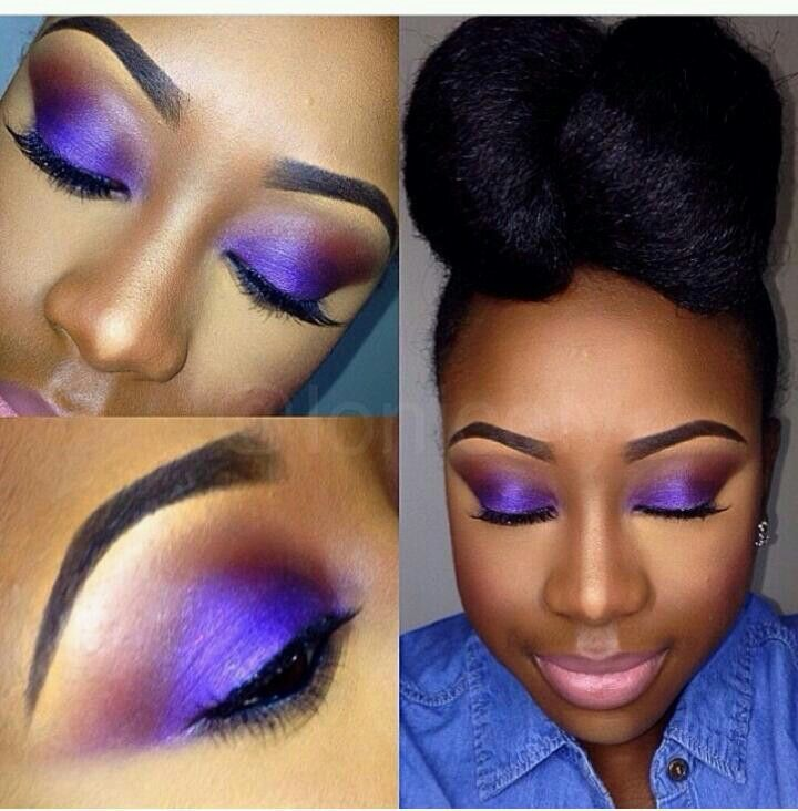 #MakeupTips Pretty purple #EyeShadow for dark skin. Try this with us here..