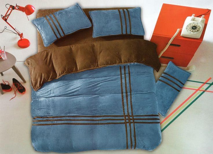 Modro hnedá posteľná obliečka s pruhmi