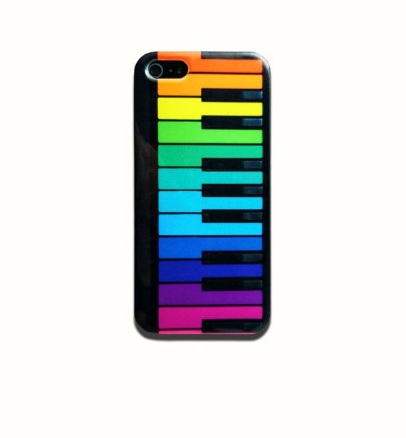 Rainbow Piano Keys is available for iPhone 4/4S, iPhone 5/5s and iPhone 5c. The picture shows the design on an iPhone 5/5s case    Our cases