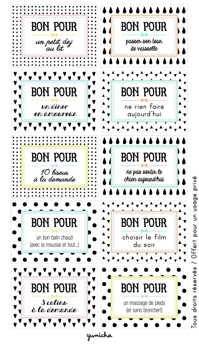 Bon pour ... Love this! Little redeemable give certificates in French (Bon Pour)