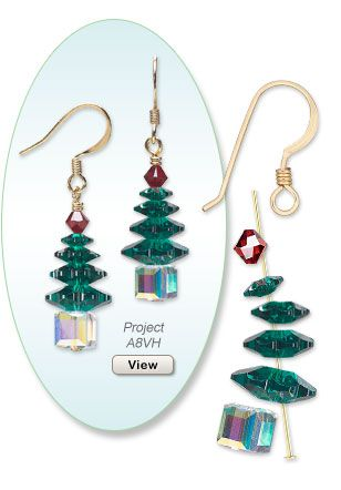 Christmas Earring Design Firemountain Gems. Lots of DIY projects with beads.