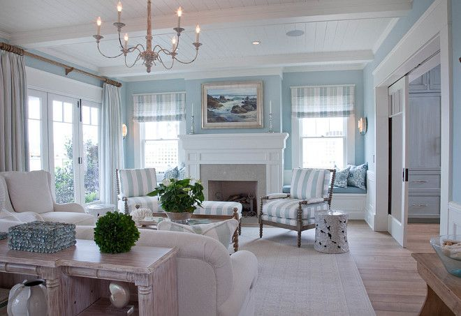 Extensive beach house renovation coastal home paint color combo heavenly blue by benjamin - Beach house paint colors interior ...