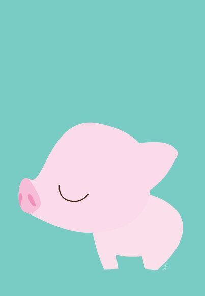 Baby Piglet Poster Modern Animal Illustration by Sealandfriends, $10.50