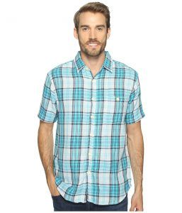 True Grit Surf Check Short Sleeve Shirt Combed Cotton Double Light (Blue Plaid) Men's Clothing