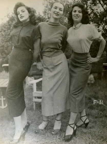 F-31: Pencil skirts | Here is an old photograph of three young ladies modeling the latest clothing fashions of the early 1950s. They are identified as, from left to right, Louise, Betty, & Barbara.