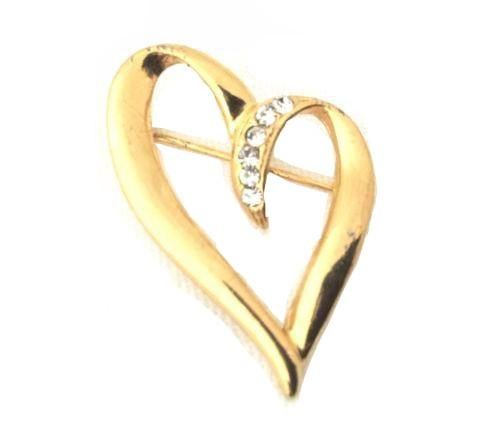Vintage Gold Plated Unusual Abstract Heart Clear Rhinestone Brooch Pin*S93