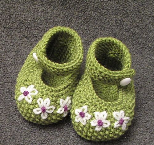 green w/white flowers booties