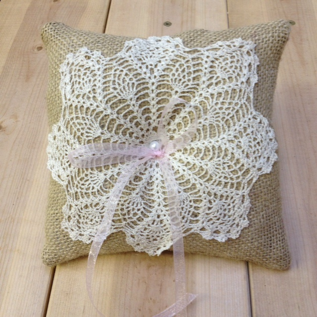 burlap and doily ring pillow with pink ribbon