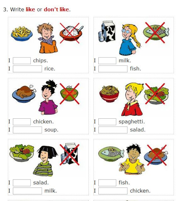 English is FUNtastic: Likes and dislikes - food: video & several interactive exercises