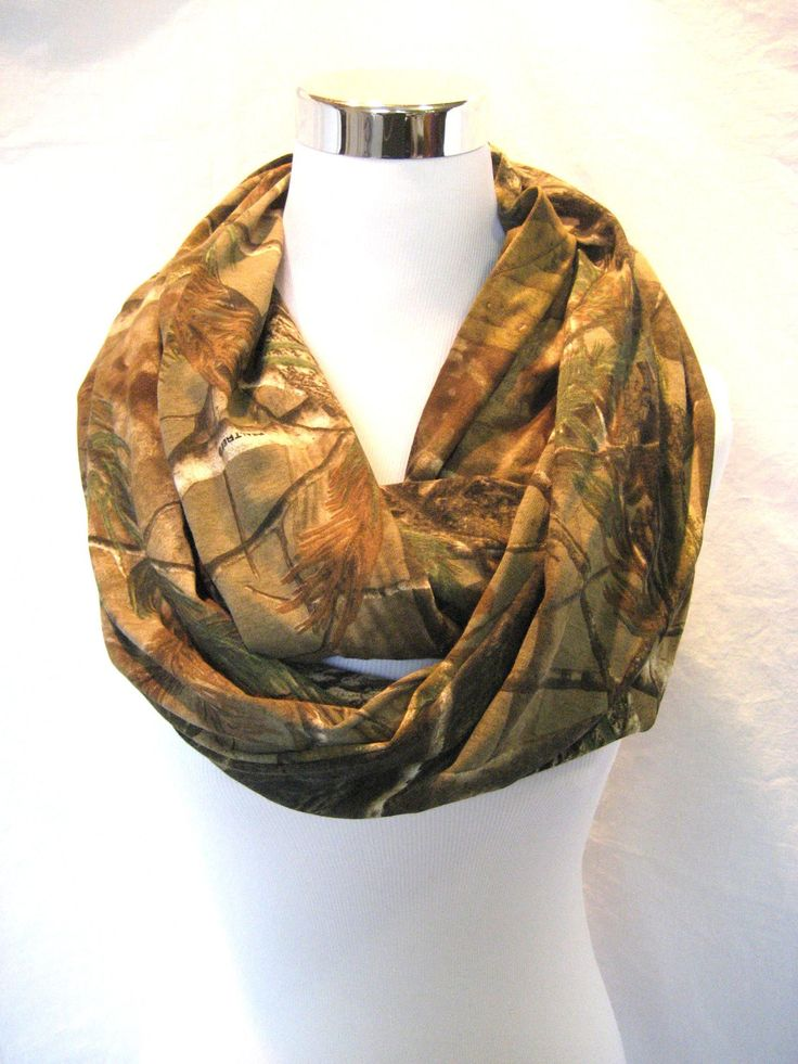 Long Realtree Camo Jersey Knit Infinity Scarf  by ChevronScarf, $25.00. One thing I learned while hunting - scarves are invaluable. Wear it this way, as a hood, use it for a hand warmer.