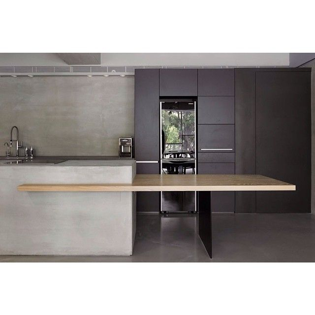 """Smooth moves of timber off concrete to form the hottest integrated dining table at the YYDG Office Image via @christinaprescottdesign on Pinterest #concrete #timber #bench #integrated #love #style #kitchen #dining #office #interior #inspiration #interiordesign #mhg #myhuntergatherer"" Photo taken by @myhuntergatherer on Instagram, pinned via the InstaPin iOS App! http://www.instapinapp.com (02/04/2015)"