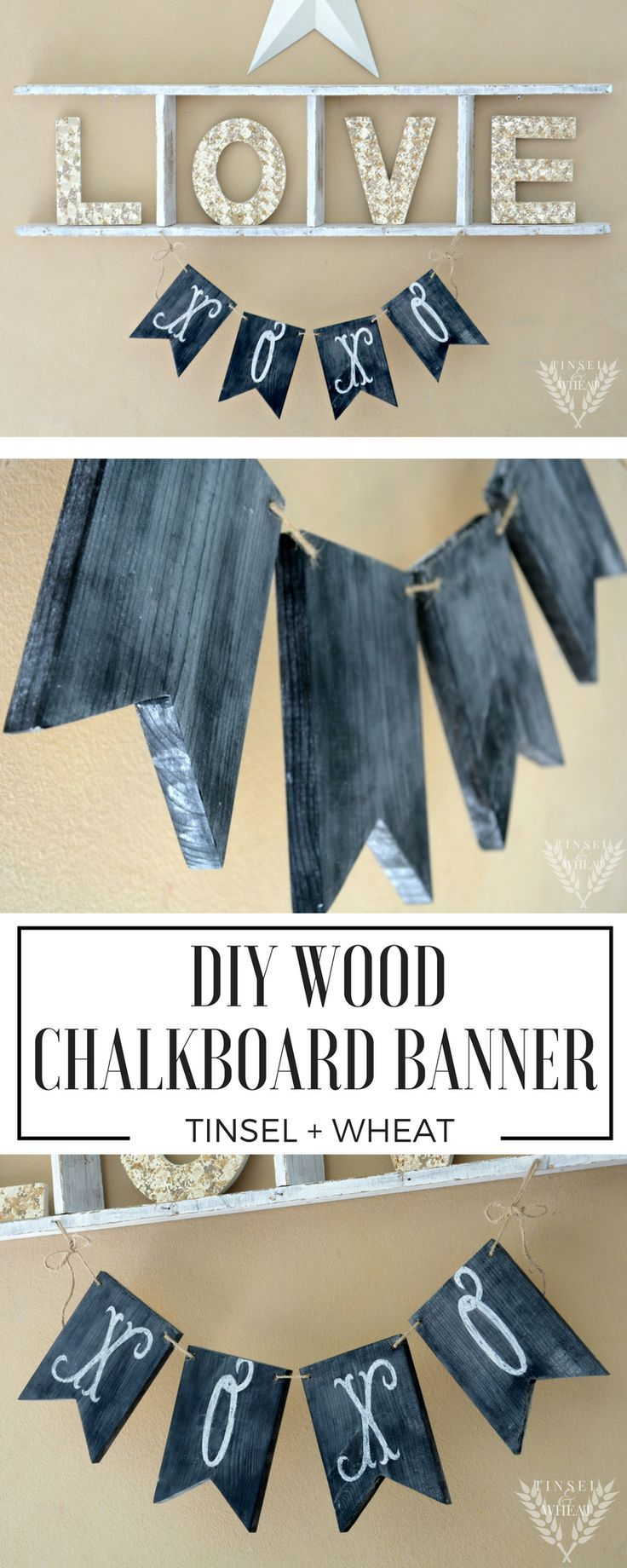 diy wood chalkboard banner step by step pictures and prefect for holidays or