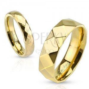 Stalowa obrączka, złoty kolor, geometrycznie szlifowana powierzchnia