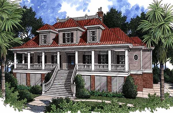 Plan 60028rc spacious low country home plan house and for Low country beach house plans