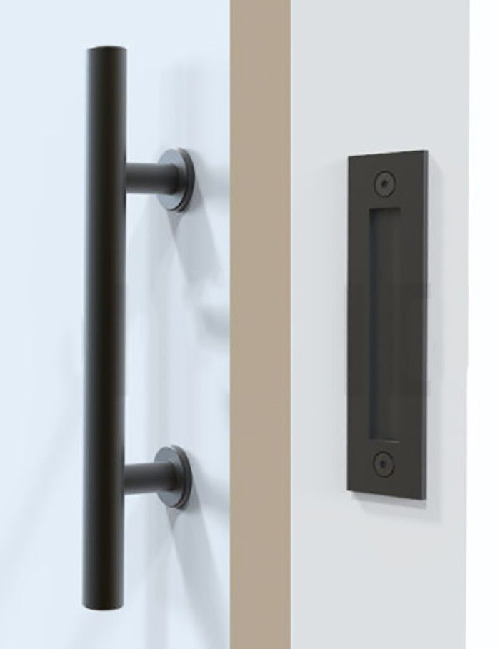 If your house is rustic modern, then you're going to love the barn door with a modern handle. This handle mimics cabinet handles. Sleek, long, black metal. Size of handle from end to end: 10 inches Ma