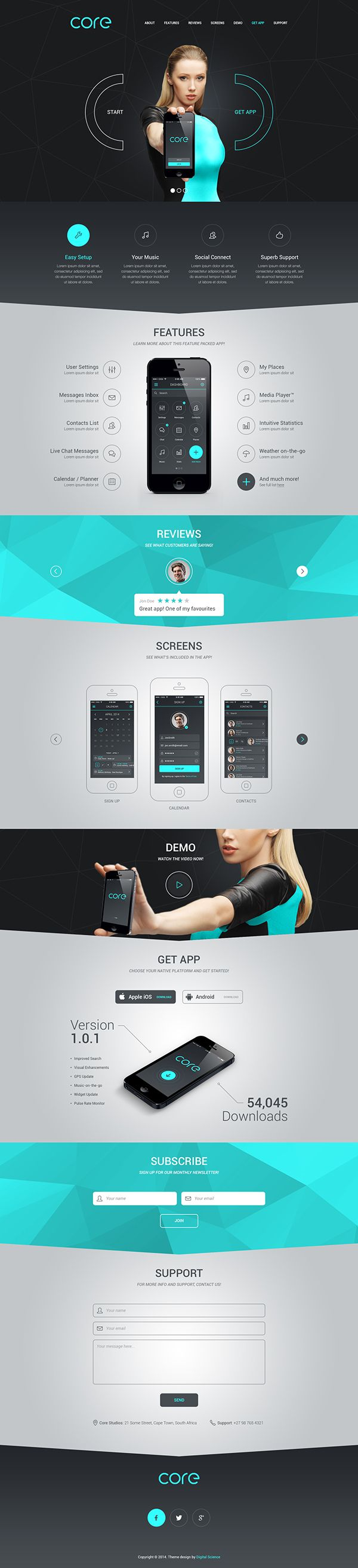 Core Mobile App Landing Theme by Pierre Marais, via Behance