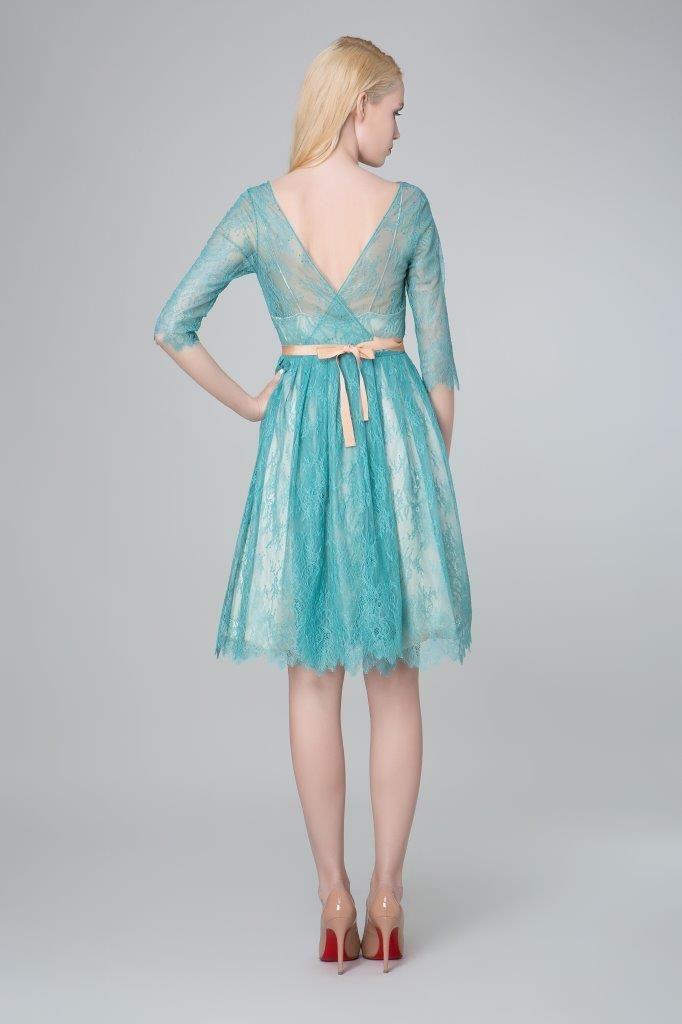 SADONI evening dress ZION in petrolium coloured lace