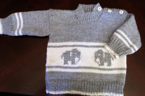 Toddler's knit pullover with elephant design in grey/white