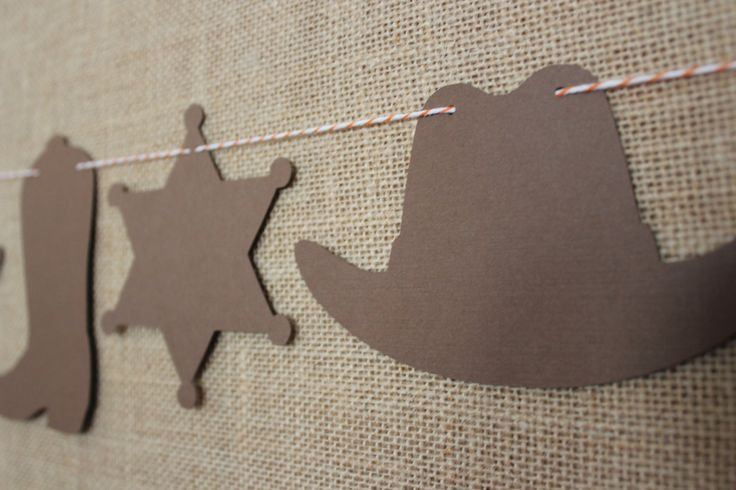 Cowboy Garland // Cowboy Hat Sheriff Badge Cowboy by thecolorloft                                                                                                                                                                                 More