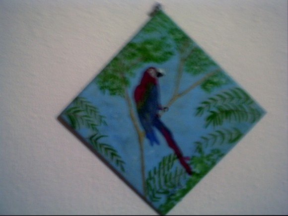 Azulejo decorativo pintado com tinta à óleo. Para pendurar na parede como um quadrinho. R$25,00