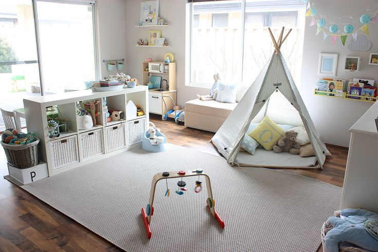 Nice and bright playroom with all the essential elements - cozy teepee, book…