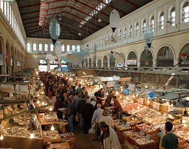 Greece, Europe: largest market in Athens, Varvakeios Agora, near the Ancient Agora in the historic center of