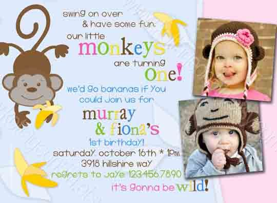 264 best birthday party invitations images on pinterest adult go bananas twins monkey birthday party invitation stopboris Choice Image