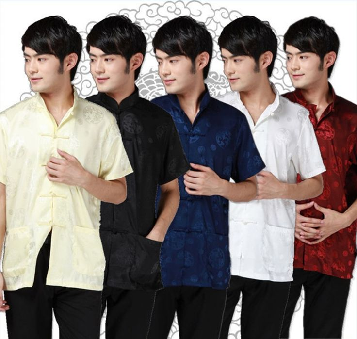 Shanghai Story national trend chinese style top tradition Chinese Men's Faux Silk Satin Shirt with Pocket Chinese Shirt #Affiliate