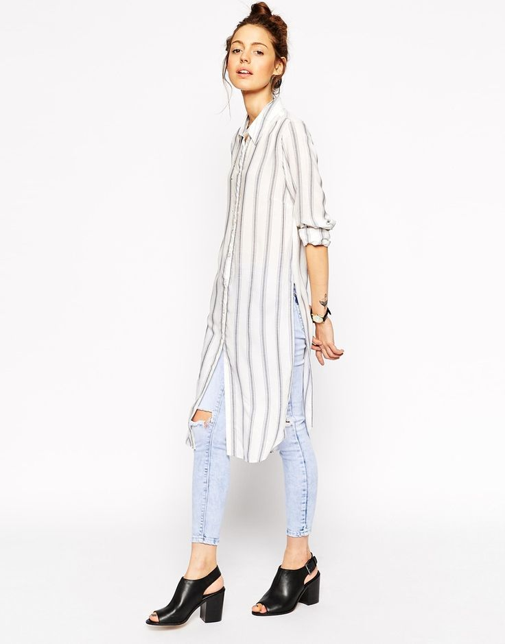 Image 1 of ASOS Long Sleeve Blue and White Stripe Maxi Shirt