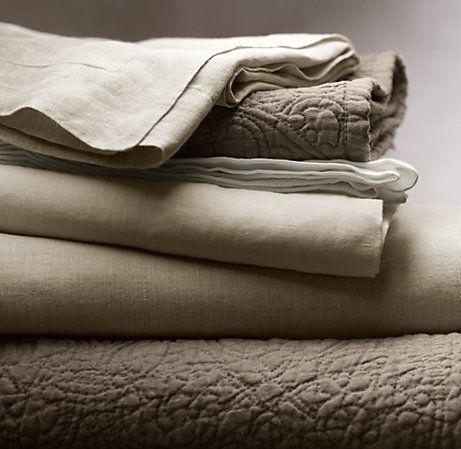 vintage-washed belgian linen bedding from restoration hardware