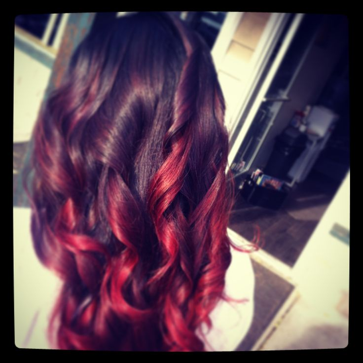 Fun ❤Red hombre hair color , red hair , color by Angela at rah hair studio